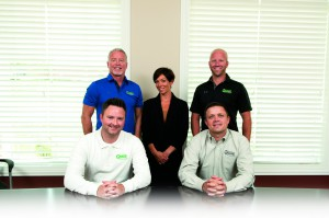 The Gnade Sales Team. Sitting from left: Dan Bernard, Insurance Broker and Bryan Gnade. Standing from left: Jim Smith, President of Commercial Lines; Christina Hrebic, Vice President of Commercial Lines; Bob Greenfield, Senior Insurance Consultant. Not pictured: Wendy Elmlund, Senior Insurance Consultant.