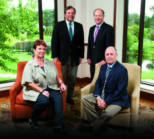 From left: Tracey A. Carragher, Chief Executive Officer; Stephen J. Kelley, President, Blue River Underwriters; Jino Masone, CPCU, CLU, ARM, Chief Operating Officer; Pete Feeney, CIC, President, Brokerage Division.